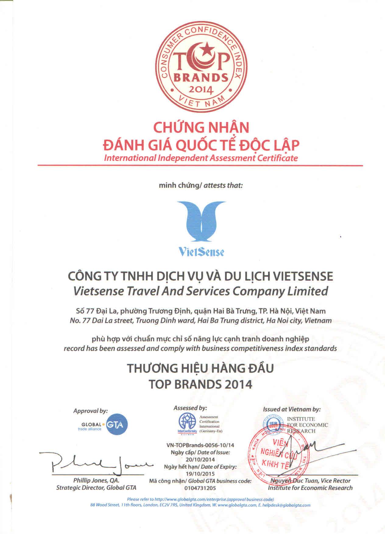 Vietsense Vinh Dự Nhận Giải Thưởng Thương Hiệu Hàng Đầu